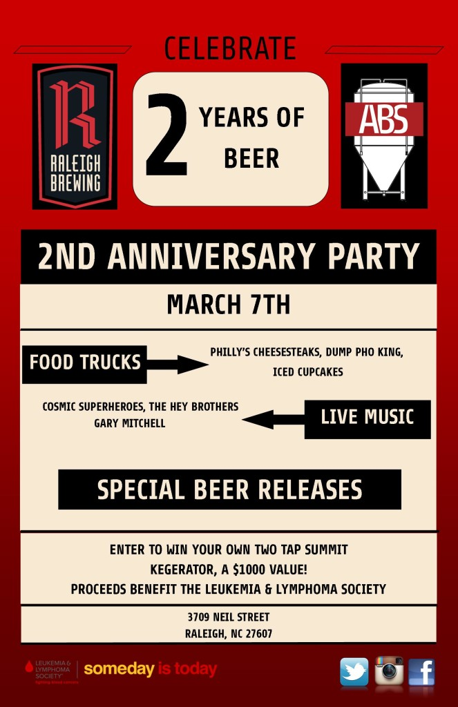 Raleigh brewing company celebrates two year anniversary